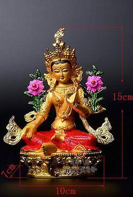 Metal Gilt & Hand Painted Buddha Statue Green Tara