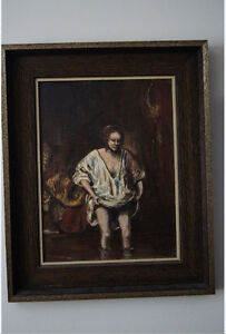 """Vintage Oil Painting by Young - 1963 21.5"""" x 17.5"""" dark wood fra"""