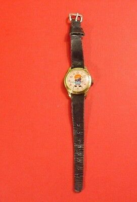 Vintage 1971 Raggedy Ann Watch Black Leather Band~Bobbs-Merrill Co~Running