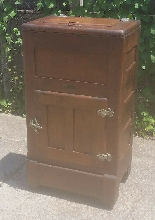 VINTAGE Antique Gibson Icebox refrigerator WOOD from Toledo/Findlay Ohio ICE BOX