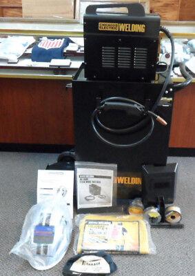 CHICAGO ELECTRIC 90 AMP FLUX WIRE WELDER W/CABINET 61705 HELMET APRON + EXTRAS
