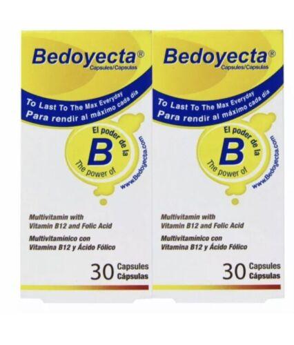 Bedoyecta B Complex Supplement Folic Acid Vitamin B12 60 Caps 2 BOXES