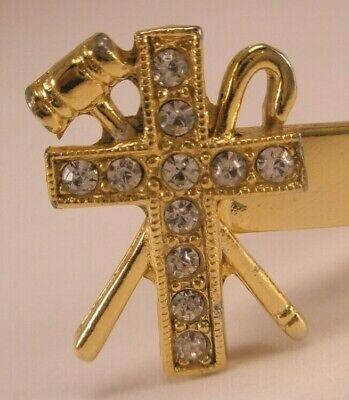 -Rhinestone Cross Shepherd Crook Hammer Vintage Tie Bar Clip hook - Shepherd Crook