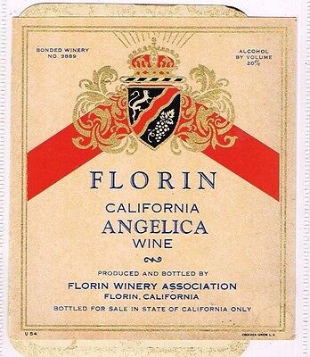 For sale 1940s California Florin California Angelica Wine Label