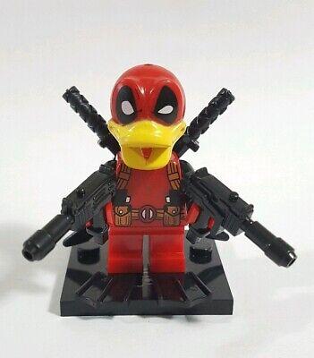 Custom DeadPool Donald Duck Minifigure Block Toy on Lego Bricks Duckpool Mash up