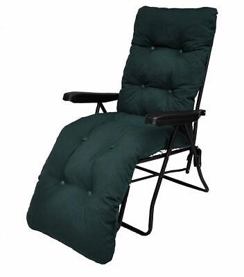 Garden Sun Lounger Multi Position Reclining Relaxer Chair And Dark Green Cushion