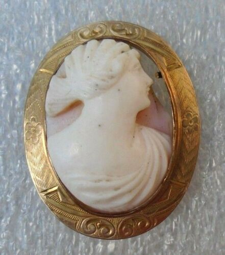 fine antique  14k yellow gold carved shell cameo pin