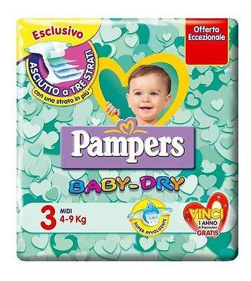 6 PACCHI PANNOLINI PAMPERS BABY DRY TAGLIA 3 OFFERTA ASCIUTTO BAMBINO 3 STRATI