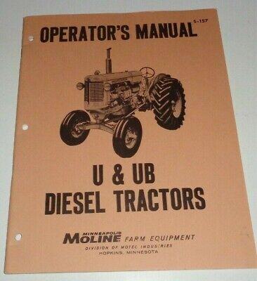 Minneapolis Moline U Ub Diesel Tractor Operators Manual Oem Near Mint Mm