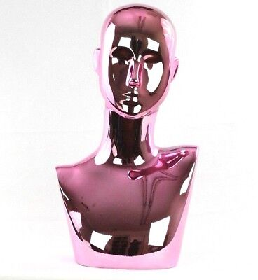 Mn-442pk Chrome Pink Female Abstract Mannequin Head Display