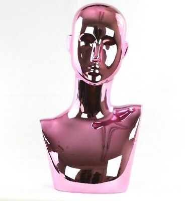 Mn-442pk Chrome Pink Female Abstract Mannequin Head Display Pierced Ears
