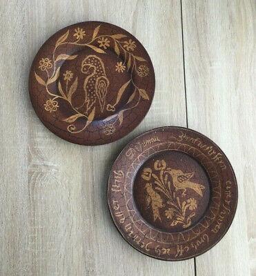 "KATHY GRAYBILL Primitives Wooden Plate Set of 2 Diameter 9.75"" Brown Color"