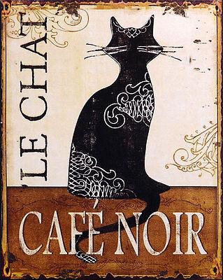 NOSTALGIE BLECHSCHILD 'LE CHAT - CAFE NOIR' NEU ANTIK DEKO SCHILD schwarze KATZE