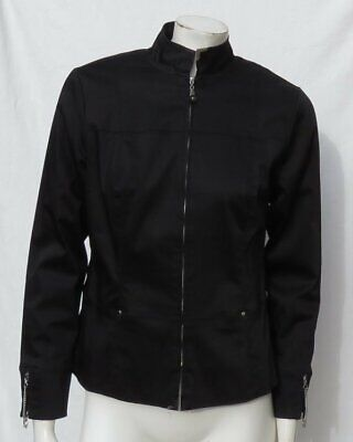 JAMIE SADOCK Black Stretch Sateen Full Zip Fitted Lined Jacket Top US S Washable