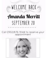 WELCOME BACK AMANDA MERRITT MASTER STYLIST & EXTENSION TECH