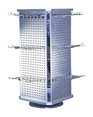 Aluminum 4 Sided Display Spinner Accessory Jewelry Countertop Rack w/ 56 Hooks