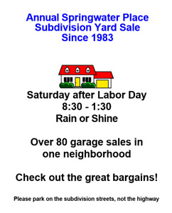 Annual Springwater Place yard sale in New Maryland Sept 7