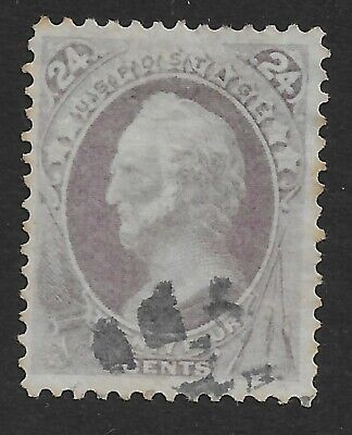 #153-24 CENT 1870-71 ISSUE SMALL CANCEL  FRONT-BACK-SCANS