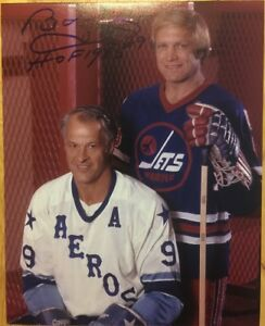BOBBY HULL with Gordie Howe Autographed Winnipeg Jets WHA Photo