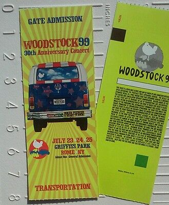 Woodstock '99 Music Festival concert ticket (Unused MINT Condition!!) RARE new