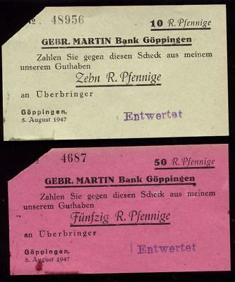 [10563] - 1947: 2 x NOTGELD GÖPPINGEN, Gebr. MARTIN Bank, 10 + 50 Pf, 05.08.1947
