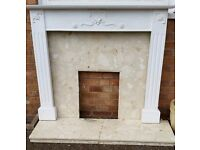 REDUCED - White fire surround complete with marble hearth and back - DIY Project -