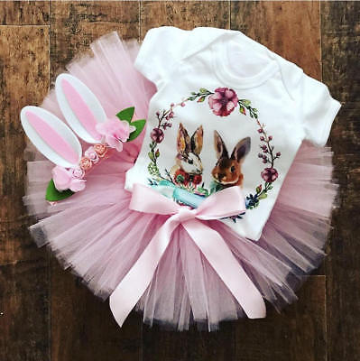 Easter Bunny Baby Outfit (USA Newborn Baby Girls Easter Bunny Tops Romper Tutu Skirt Dress Outfits)