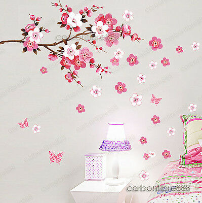 Home Decoration - Large Peach Blossom Flower Butterfly Wall Stickers Art Decal Home Room Decor