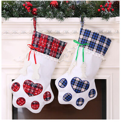 Plaid Christmas Stocking (New Plaid Christmas Gift Bags Pet Dog Cat Paw Stocking Socks Xmas Tree)