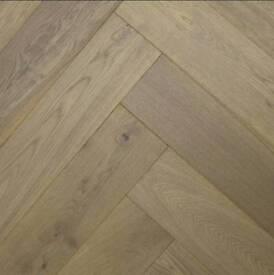 148mm Platinium Grey Brushed and Matt Lacquered Engineered Herringbone Oak Wood Flooring 15mm Thick