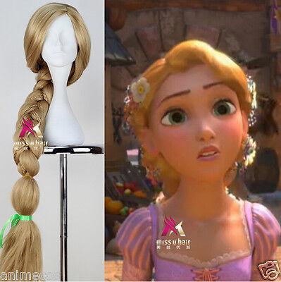 Tangled Princess Rapunzel Wig Long Blonde Braid Anime Cosplay Wig for Halloween