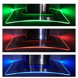 Curved Glass 90cm LED cooker Hood Kitchen Extractor Fan Stainless Steel graded