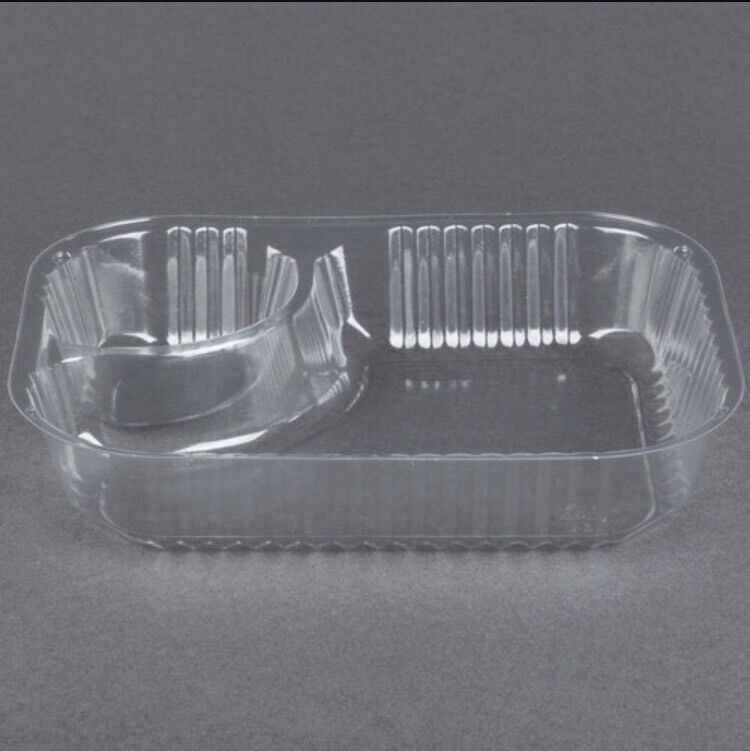"25ct Clear 2 Compartment Plastic Nacho And Cheese Tray 6"" X 5"" X 1/2"""