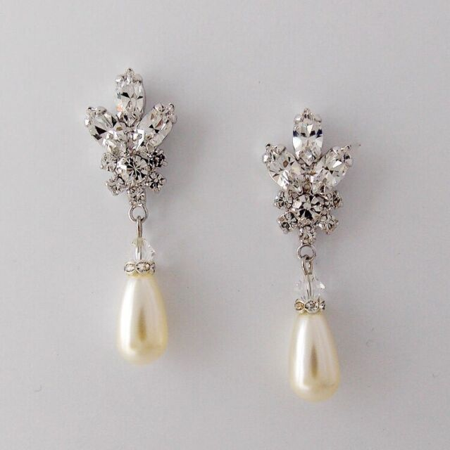 Marlena Dupelle Bridal Earrings Wedding Crystal Pearl Brand