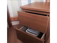 Oak effect, good quality bedside chest with two big drawers.