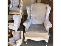 Wingback/fireside/arm chair,newly professionally reupholstered in mink crushed velvet