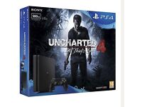PS4 Slim 500GB Uncharted 4 Console Bundle Black (D Chassis) with EXTRA CONSOLE & 1 GAME