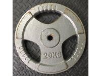 """20kg tri grip iron weight plate x1 for 1"""" bars Home Gym Bodybuilding Training"""