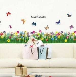 Flower-Grass-Butterfly-Wall-Border-Decal-Removable-Windows-Stickers-Kids-Decor