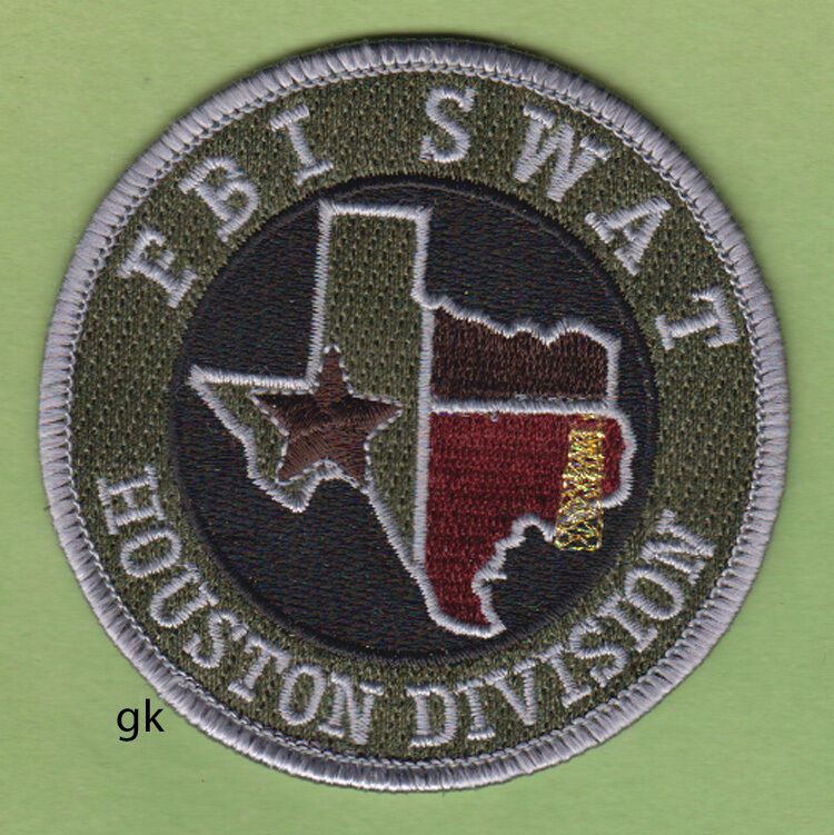 FBI SWAT HOUSTON DIVISION TEXAS POLICE SHOULDER PATCH   Subdued - Green