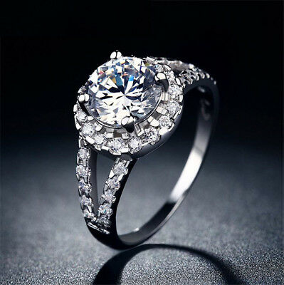 Women Lady Round Cut CZ White Gold Plated Wedding Band Ring Engagement Size 7-9
