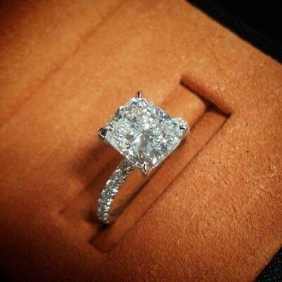 3.35 Ct Cushion Cut Diamond Engagement Ring Round Pave H,VS2 GIA Platinum 3