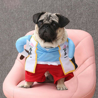 Funny Pet Cat Dog Clothes Japan Samurai Jedi Uniform Cosplay-Costume Cute (Samurai Kostüm Hunde)