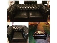 Chesterfield 3 piece suite 2 seater, club chair and footstool