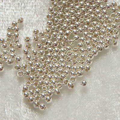 100 x 2mm Sterling Silver Round Crimp / Spacer Seamless Beads Findings