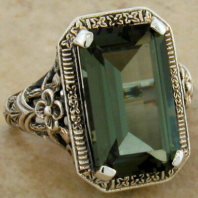 8 CT. SIM TOURMALINE ANTIQUE DESIGN .925 STERLING SILVER RING SIZE 10,#539