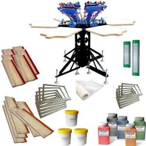 Rotary 6 Color 6 Station Screen Printing Press with Consumables Kit Starter Hobby Package 006970