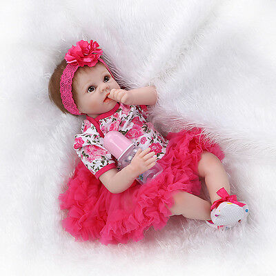 22''Handmade Lifelike Baby Girl Doll Silicone Vinyl Reborn Newborn Dolls+Clothes on Rummage