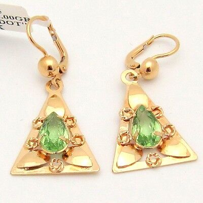 (2.80TCW Green Peridot Dangle Earrings Triangle Pear Lever-back 18KY Gold Antique)