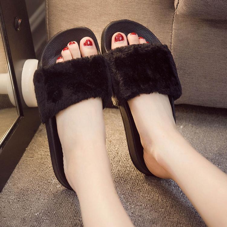 Womens Slip On Sliders Fluffy Faux Fur Flat Plush Slipper Flip Flop Sandal  4